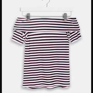 Harlowe & Graham RIBBED OFF THE SHOULDER TEE Med